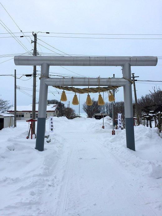 流氷接岸の常呂神社 2020年2月11日