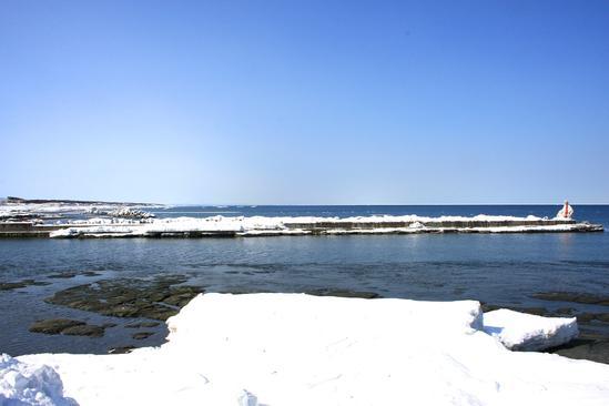 流氷に近い住宅地(漁師宅) 常呂川河口付近<br>