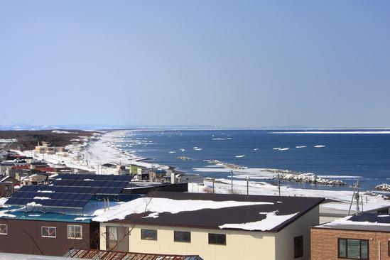 流氷を望む国道238号線 北見市常呂<br>
